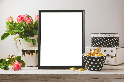 Wooden frame and roses romantic photo frame - Wooden frame and roses romantic photo frame
