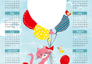 Calendar2018 Cat mouse and balloons photo frame 318x220 - Calendar2018 Cat mouse and balloons photo frame