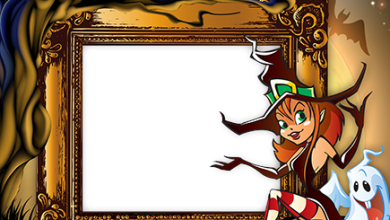 Halloween Witch is having a rest photo frame 390x220 - Halloween Witch is having a rest photo frame